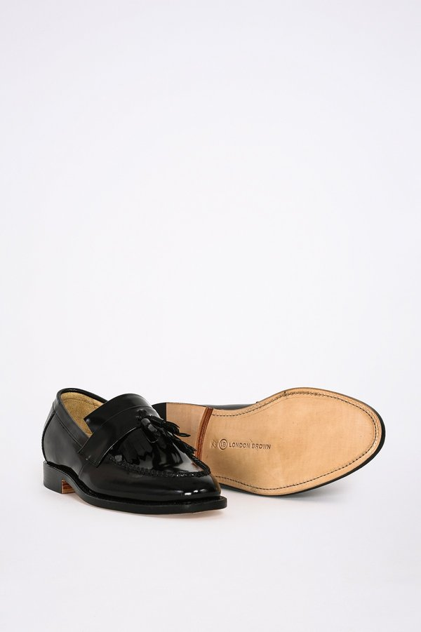 London Brown Tassel Loafers With Fringe