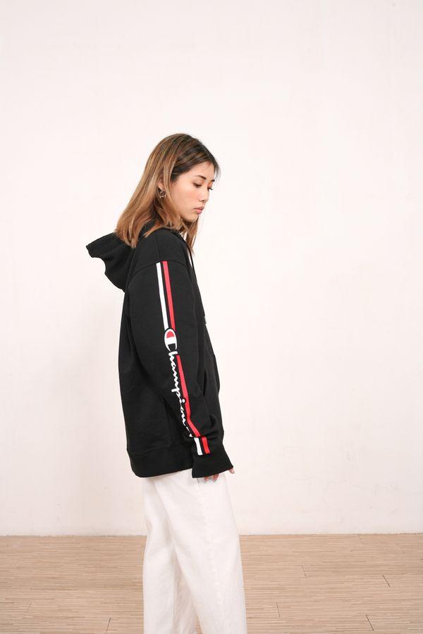 Champion Powerblend Fleece Vertical Logo Pullover Hoodie
